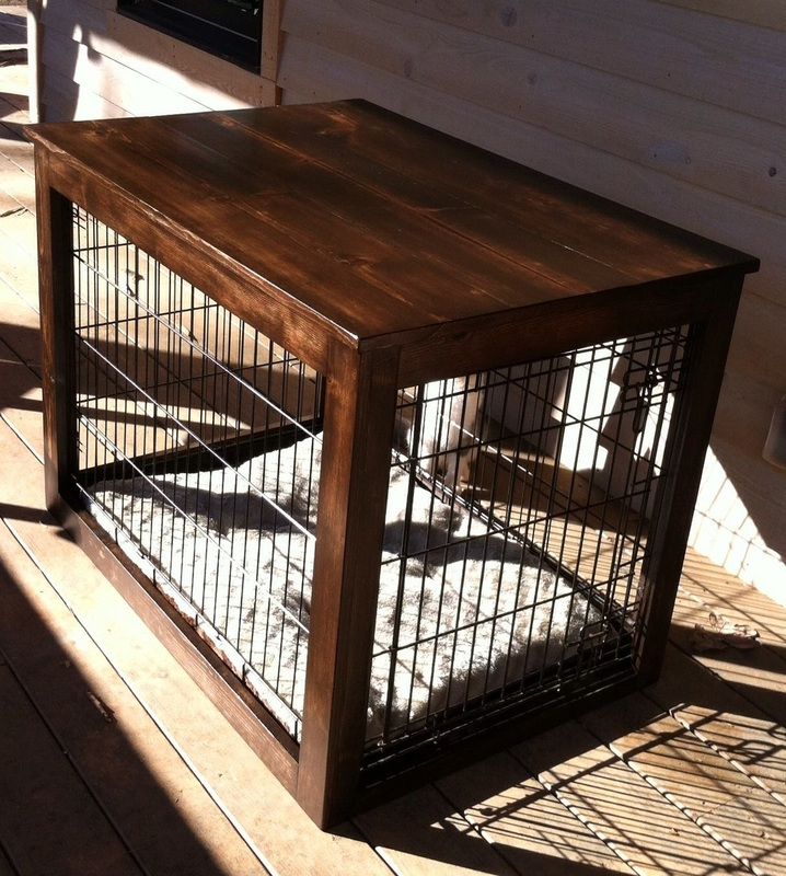 Wooden End Table Customized To Go Over Metal Crate. Ideal For Dogs That  Like To Chew.